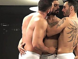 Tattoo Gay Threesome And Cumshot Film